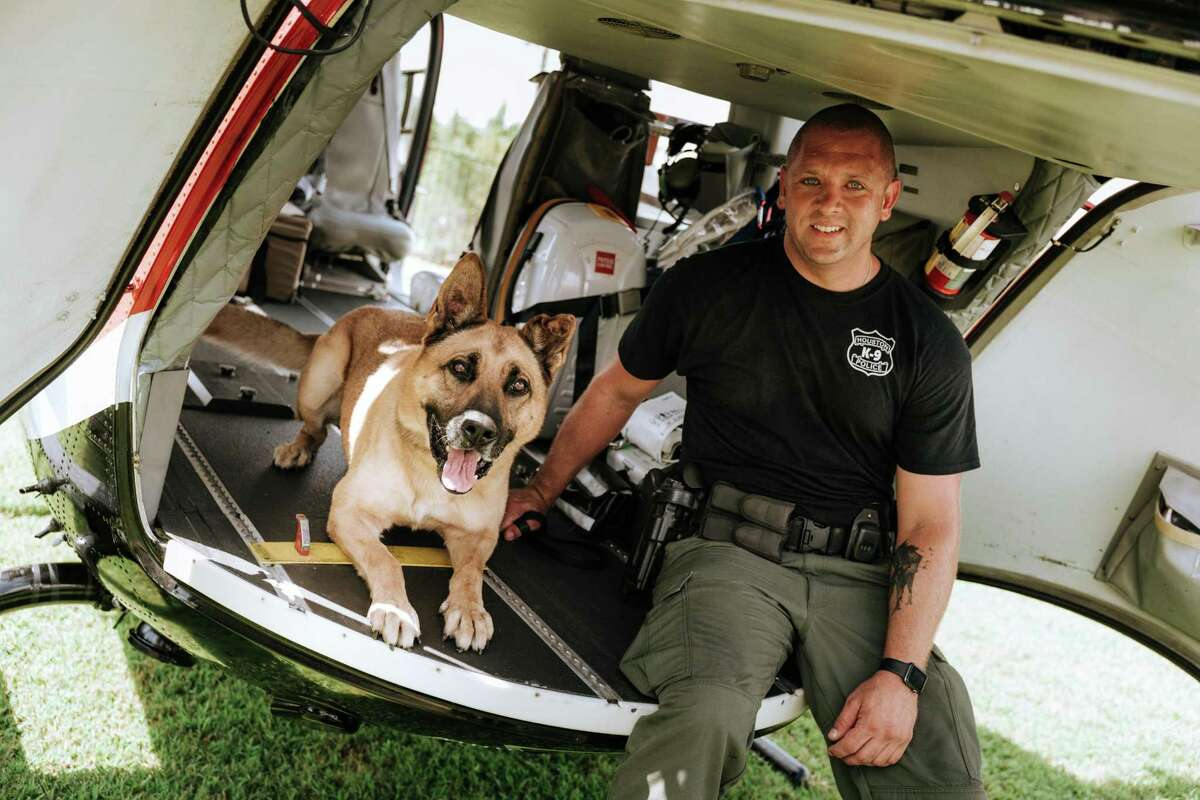 Houston Police Department K-9 Handler Justin Ferguson with dog Keno.