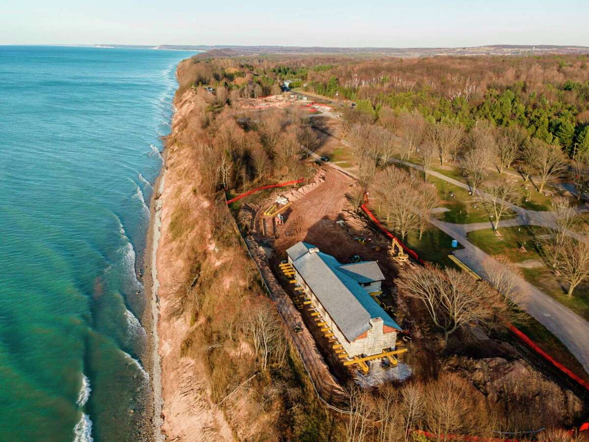 The historic Manistee shelterhouse was moved from the shore in December to prevent it from collapsing into Lake Michigan. (Courtesy photo/Michigan Department of Natural Resources)