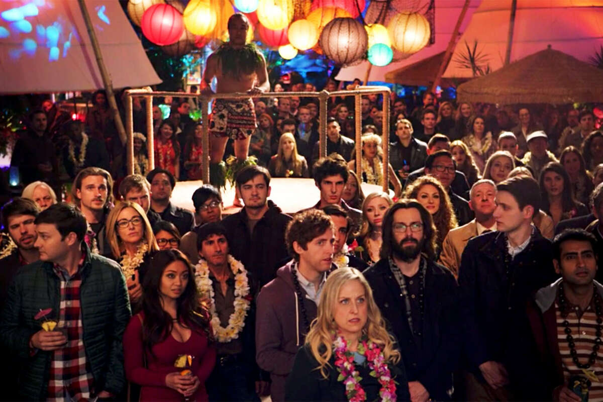 """A scene from an extravagant tech party in the HBO show """"Silicon Valley."""""""