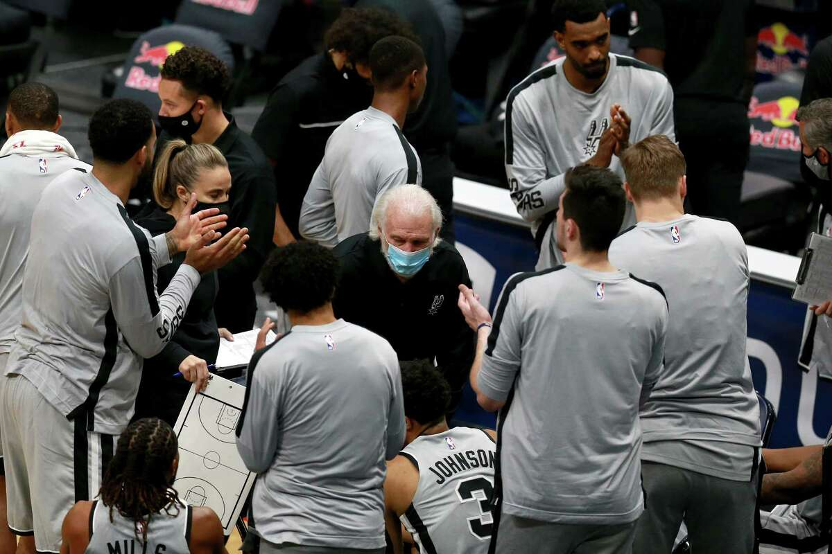 Head coach Gregg Popovich of the San Antonio Spurs instructs his team during an NBA game against the New Orleans Pelicans at Smoothie King Center on Dec. 27 in New Orleans.