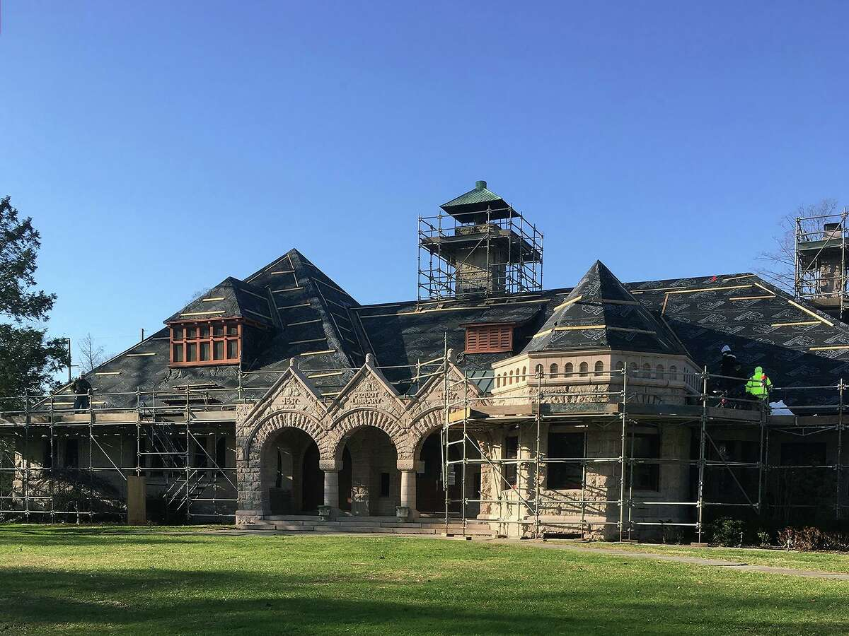 The Pequot Library as it undergoes a roof replacement.