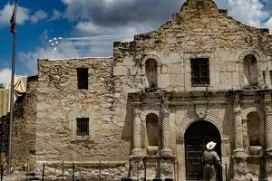 F-16 jets of the Air Force's aerial demonstration team, the Thunderbirds, fly over the Alamo shrine on Wednesday, May 13, 2020. The Thunderbirds overflew San Antonio, Austin and Floresville today to salute frontline Covid-19 pandemic responders.