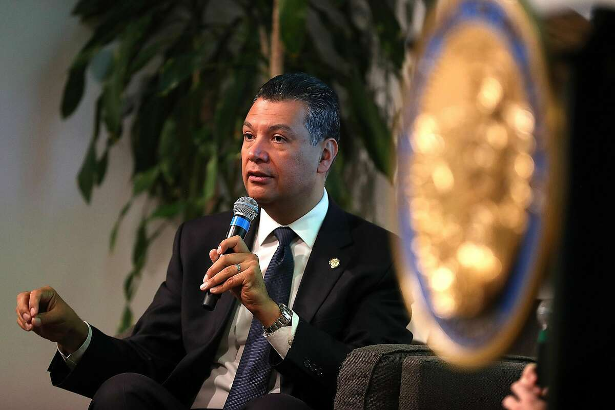 Alex Padilla, selected by California Gov. Gavin Newsom to fill the Senate seat of Vice President-elect Kamala Harris, speaks during a news conference in 2018 in San Francisco. (Justin Sullivan/Getty Images/TNS)