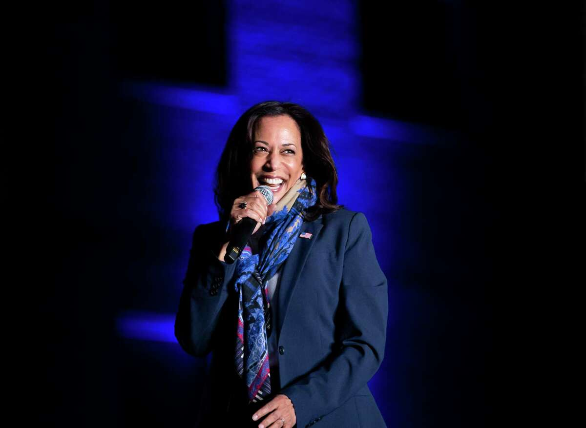 U.S. Sen. Kamala Harris and Democratic vice presidential nominee speaks to supporters at the University of Houston after a day of campaigning around Texas on Friday, Oct. 30, 2020. Harris, now vice president-elect, is a graduate of Howard University, a historically black college in Washington, D.C.