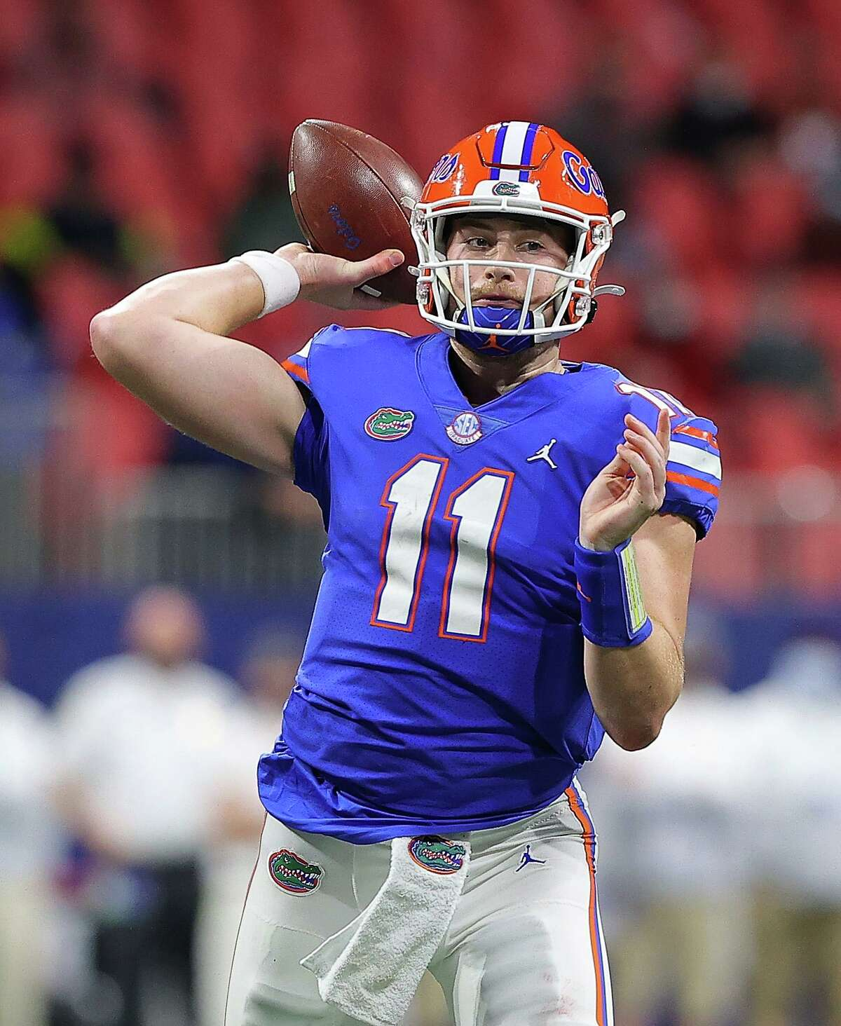 ATLANTA, GEORGIA - DECEMBER 19: Kyle Trask #11 of the Florida Gators looks to pass against the Alabama Crimson Tide during the second half of the SEC Championship at Mercedes-Benz Stadium on December 19, 2020 in Atlanta, Georgia. (Photo by Kevin C. Cox/Getty Images)