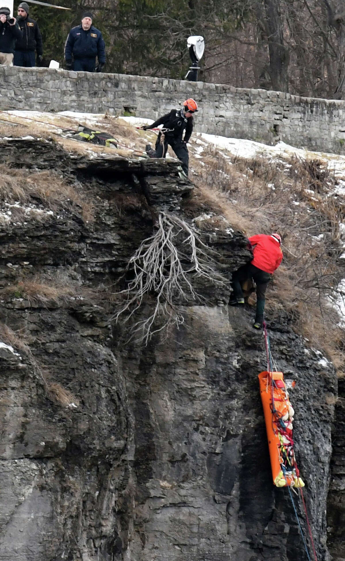 Zachary L. Barrantes, 25, is rescued from the John Boyd Thacher State Park escarpment on Friday, Jan. 3, 2020, in New Scotland, N.Y. Barrantes went missing on New Year's Eve after taking an Uber to the popular Albany County lookout. He survived three days of frigid temperatures. A rescue team discovered him Friday morning. (Will Waldron/Times Union)