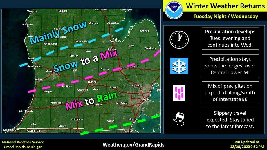 Areas of central Lower Michigan could see up to 6 inches of snow, with Gladwin County forecast to get 3 to 5 inches, according to the NWS. Reduced visibility and slick roads are expected to lead to hazardous travel through Wednesday. (National Weather Service/Grand Rapids)