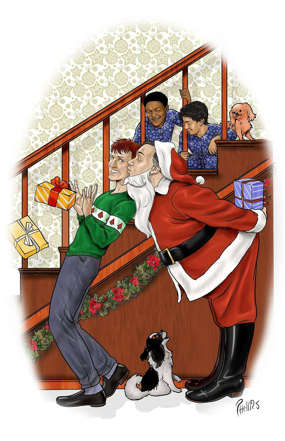 A Joe Phillips vision of the Fisher-Paulson family at Christmas.