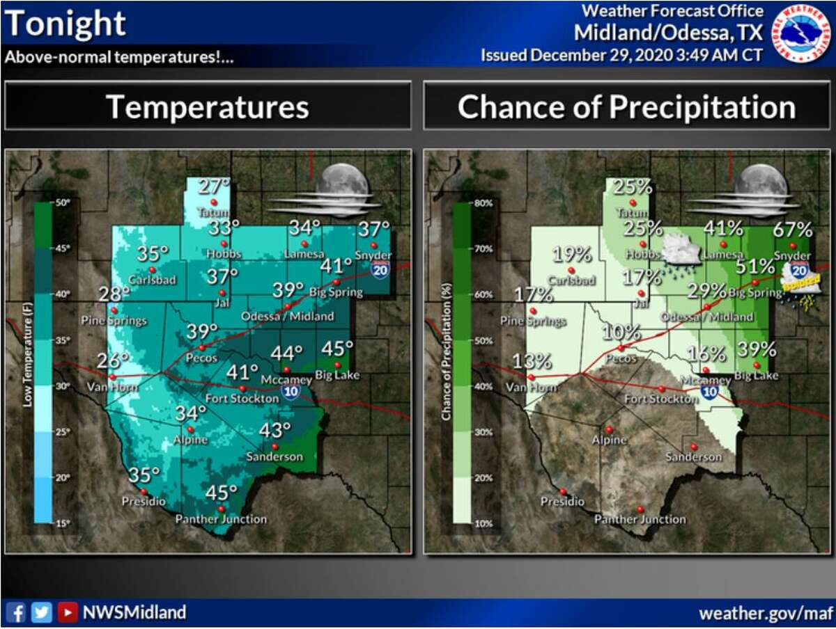 Above-normal temperatures expected tonight