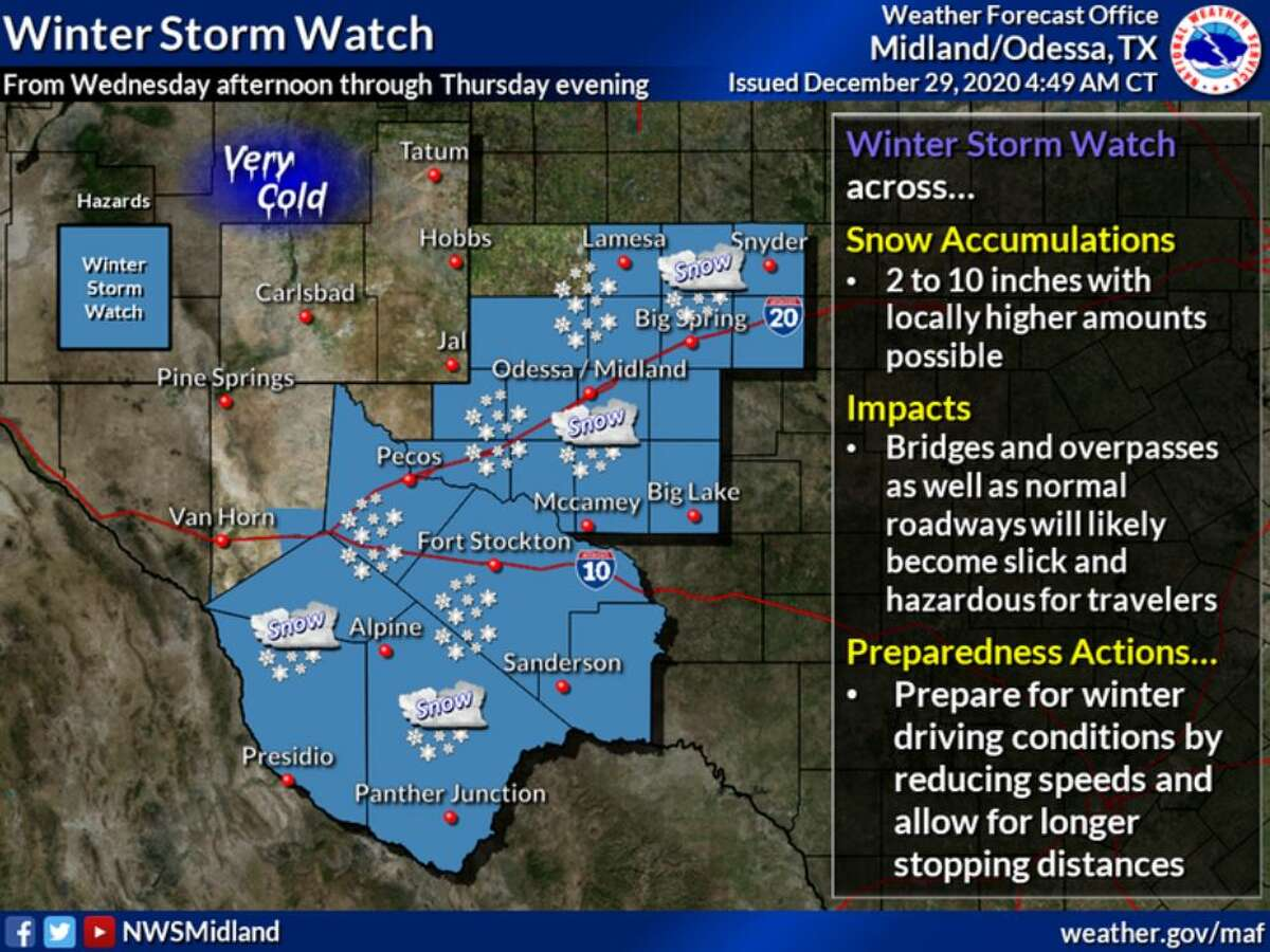 A Winter Storm Watch is in effect for most of West Texas from Wednesday afternoon through Thursday evening.