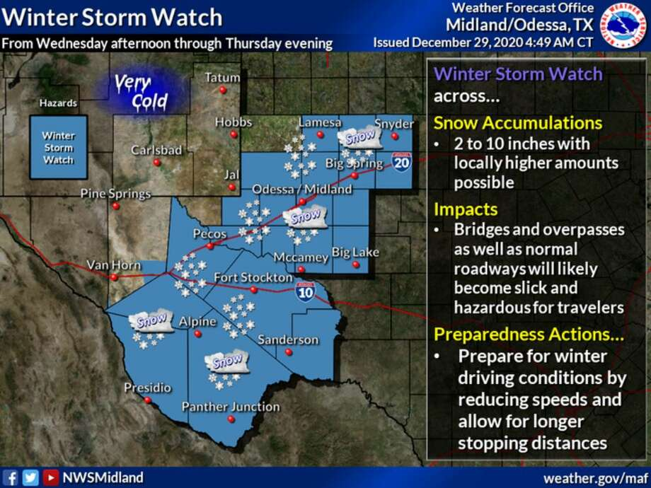 A Winter Storm Watch is in effect for most of West Texas from Wednesday afternoon through Thursday evening. Photo: Midland National Weather Service