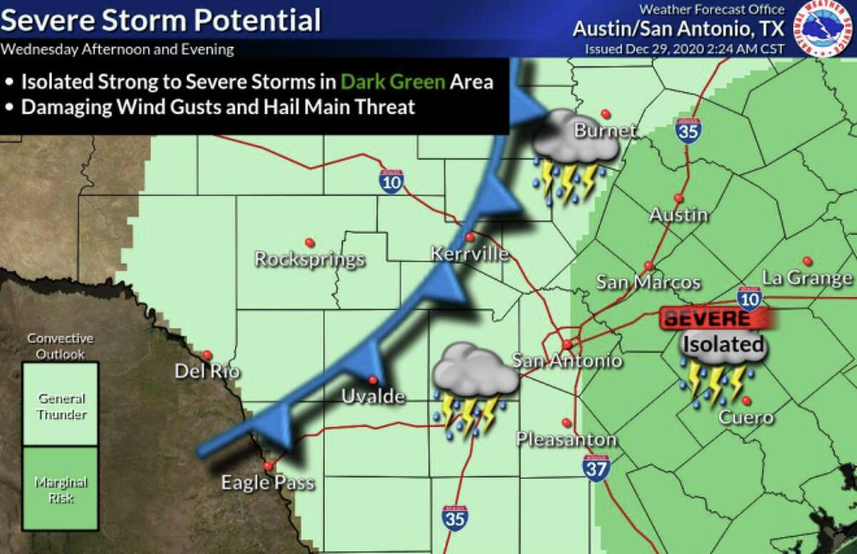 A cold front threatens to bring a wintry mix to the San Antonio area Wednesday afternoon through Thursday, according to the National Weather Service.