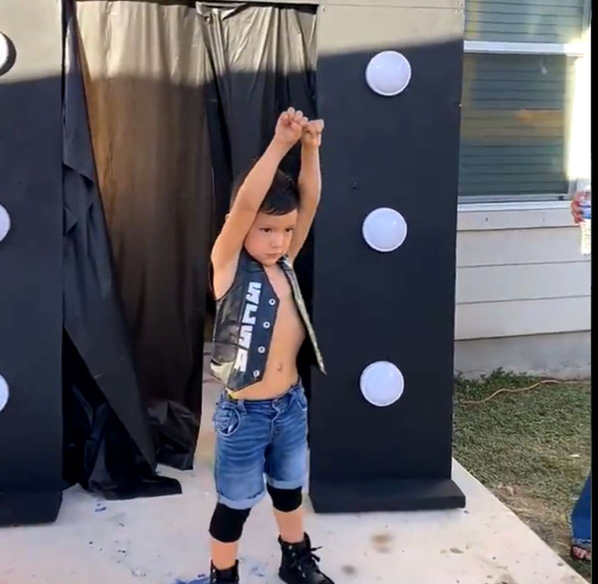 With the iconic blue jean shorts and black skull vest, Mason Casares honored one of his favorite WWE Wrestlers for his fourth birthday: Stone Cold Steve Austin.