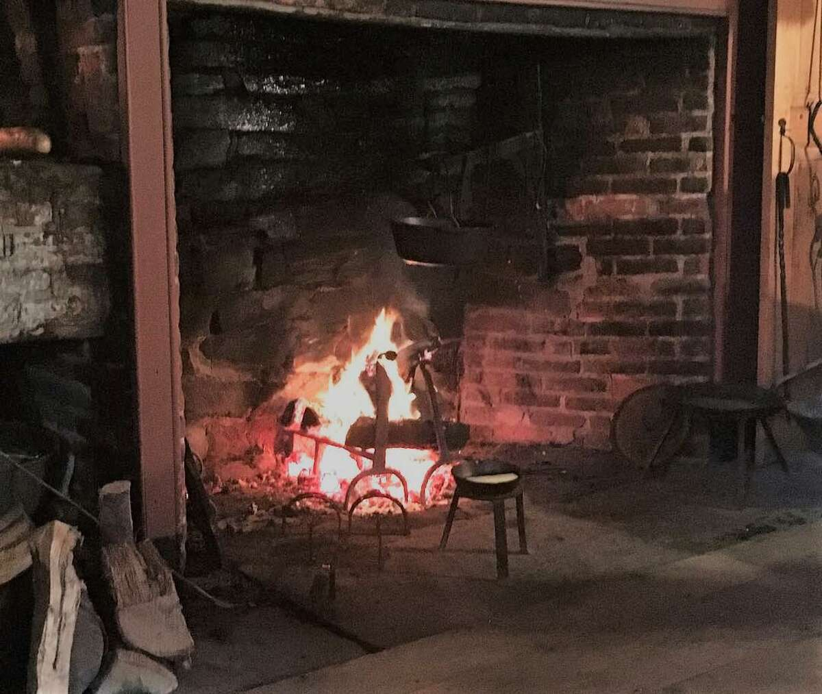 The old fireplace and hearth at the David Humphreys House.