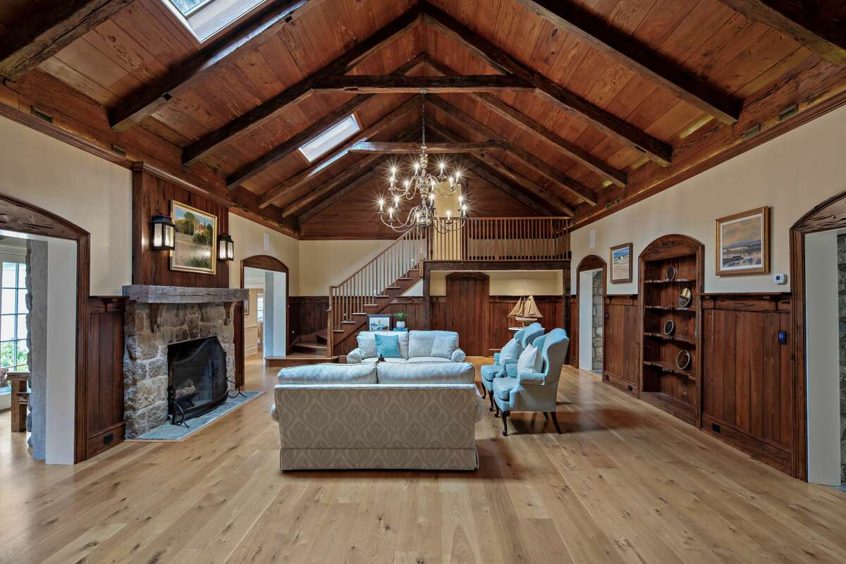 Former hunting large, now a great room in the main house at 232 Newtown Turnpike, Weston.