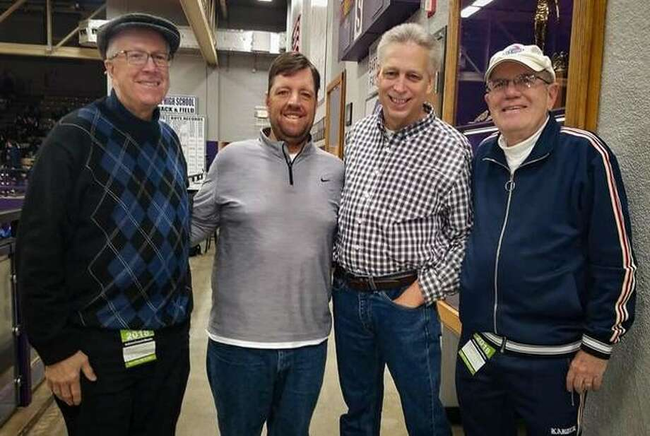 Pictured from left to right are Rick Hummel, Matt Kamp, David Wilhelm and Steve Porter at the Collinsville Prairie Farms Holiday Classic. Photo: For The Intelligencer