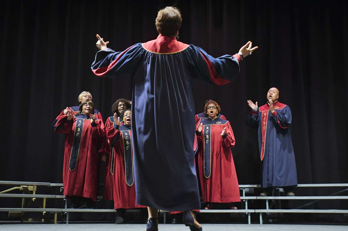Members of the Mt. Calvary Baptist Church Adult Choir perform at the 34th annual Martin Luther King Jr. Celebration at SUNY Schenectady Community College on Sunday, Jan. 19, 2020, in Schenectady, N.Y. (Paul Buckowski/Times Union)