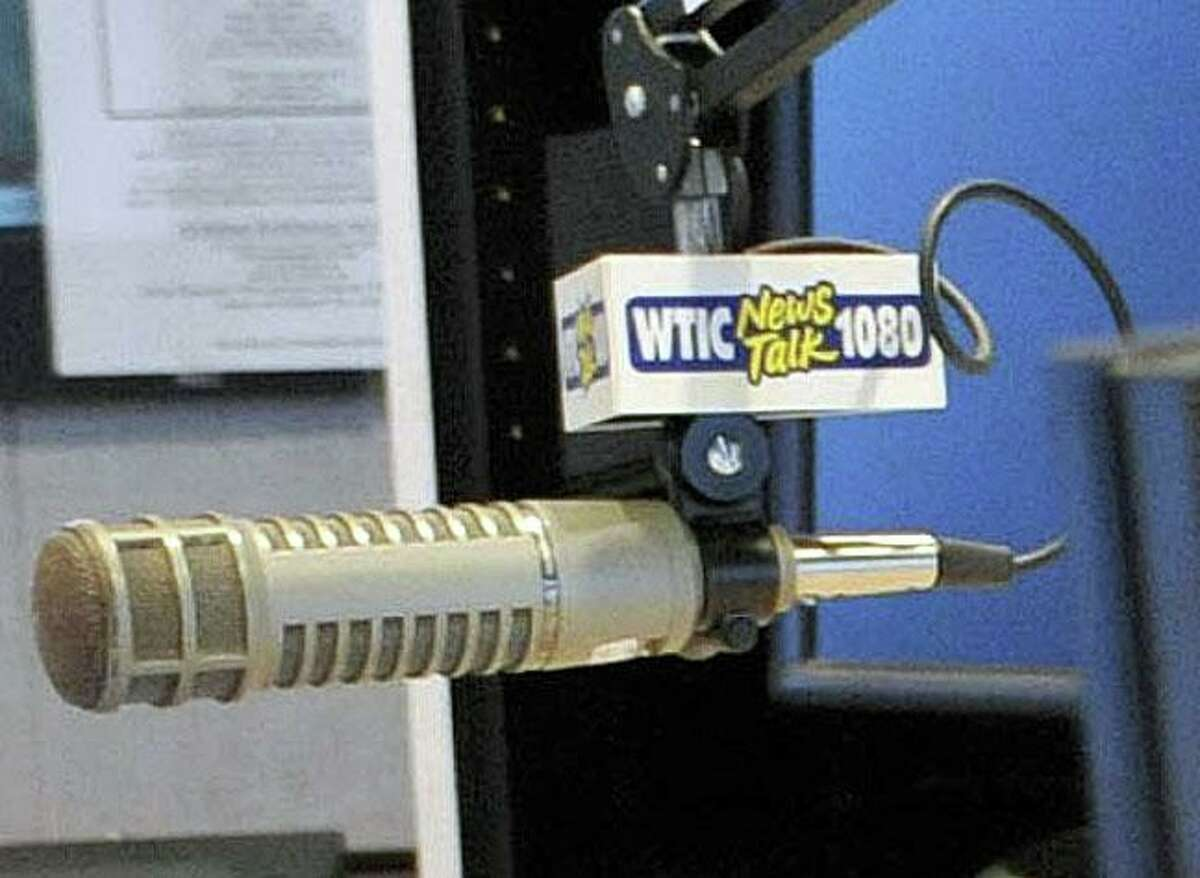 A file photo of a microphone from WTIC AM radio in Farmington, Conn., taken on July 2, 2010.