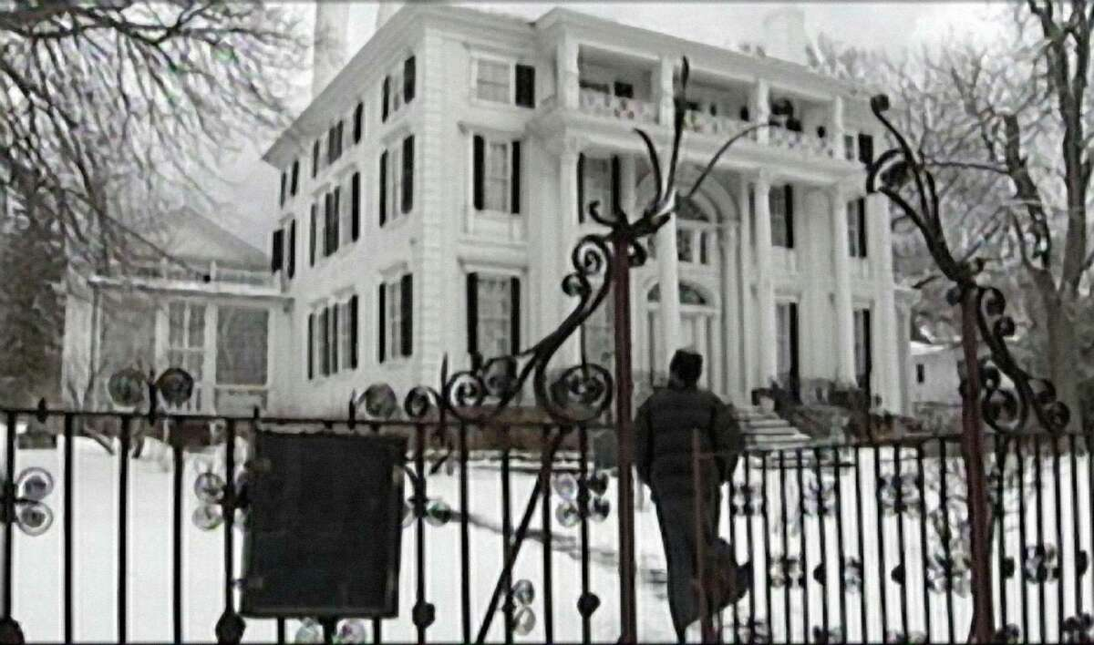 """""""Traces of the Trade,"""" an award-winning documentary about New England's connection to slavery, will be screened as part of an online event at Trinity Episcopal Church in Southport, Sunday, Jan. 10. It was produced/directed by Katrina Browne, whose Rhode Island ancestors, the DeWolfs, were the largest slave-trading family in U.S. history. Browne is seen here visiting Linden Place in Bristol, R.I. The mansion was built in 1810 by seafaring slave trader Gen. George DeWolf, and currently operates as a house museum."""