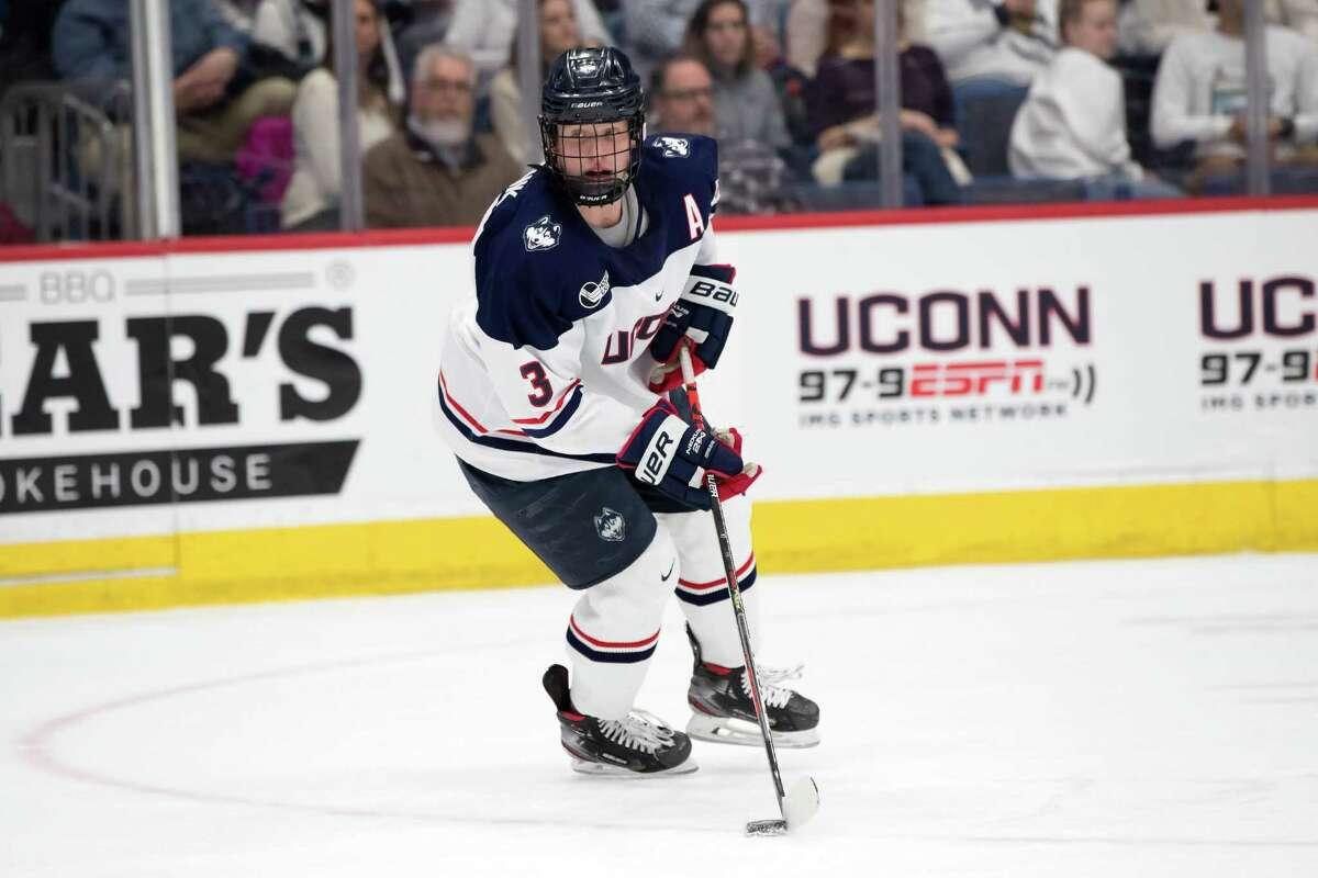 Ridgefield native Adam Karashik is captain of the UConn hockey team.