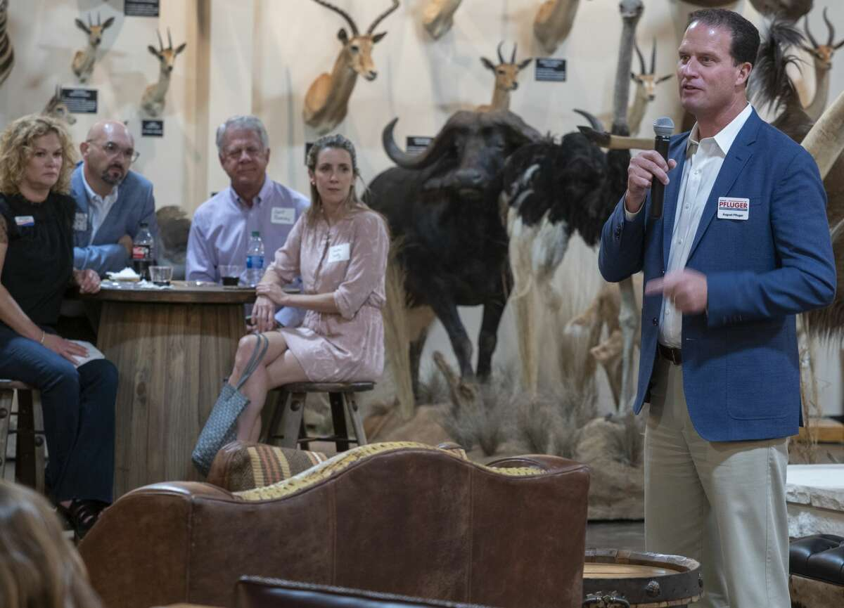 August Pfluger speaks Oct. 6 during a meet and greet with Midland County Young Republicans at the West Texas Hunting and Fishing Heritage Museum. Pfluger, of San Angelo, won the March 3 primary for the Republican nomination for Texas's 11th Congressional District.