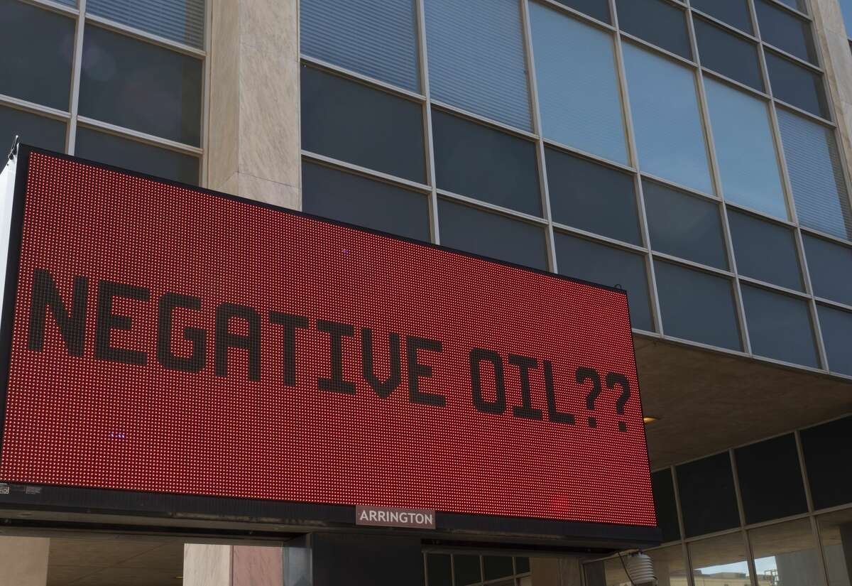 The final price of oil was not listed on the digital marquee outside Frost Bank in downtown Midland. The price of oil fell to a negative $37 on April 20 - the first time crude has traded in negative territory.