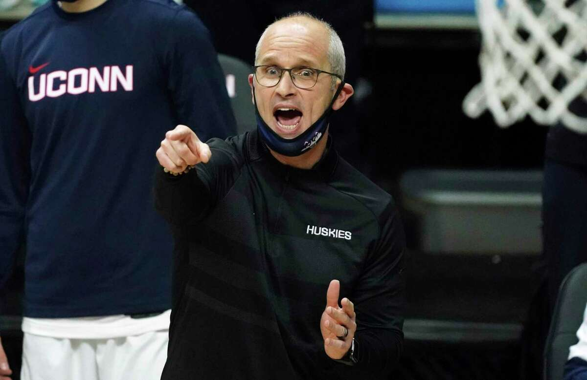 Connecticut head coach Dan Hurley reacts from the sideline during the second half of an NCAA college basketball game against Creighton in Storrs, Conn., Sunday, Dec. 20, 2020. (David Butler II/Pool Photo via AP)