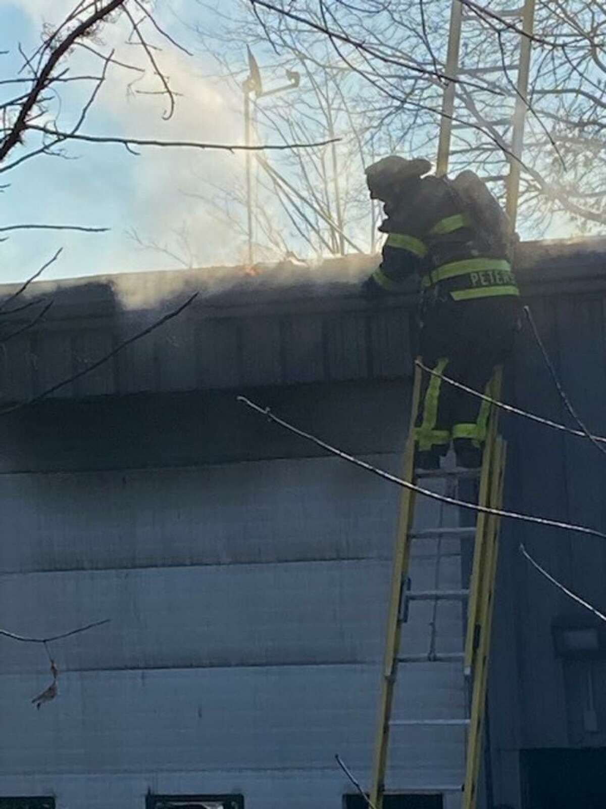 A scene from a structure fire on Hillside Road in Cromwell Sunday.