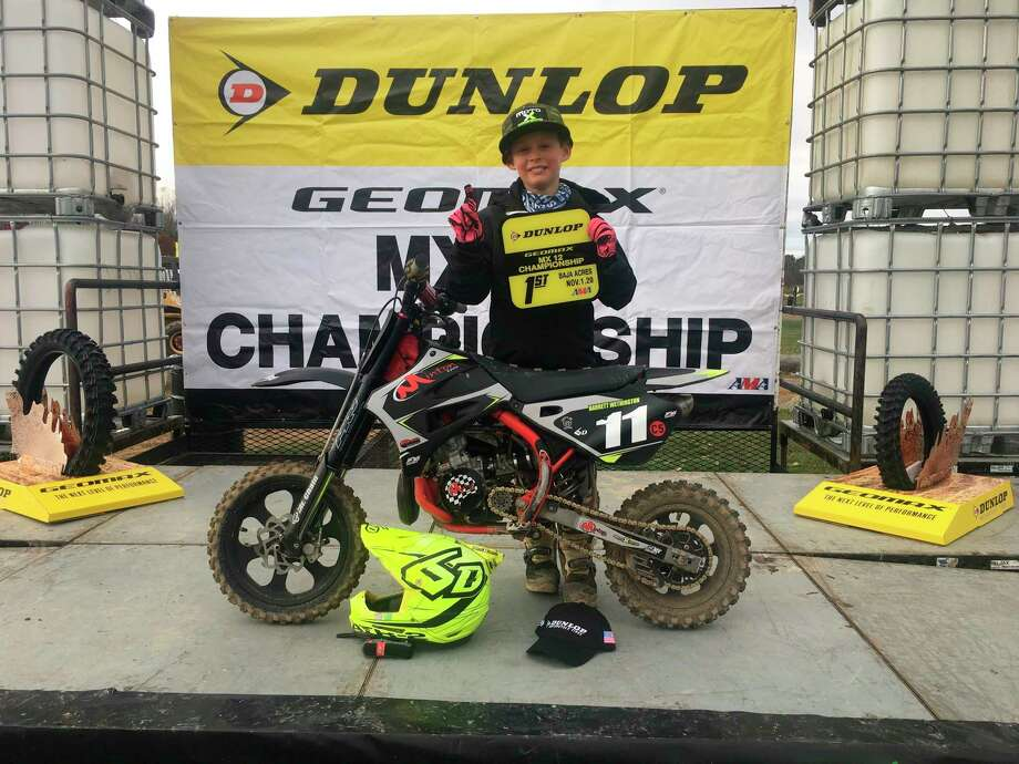 Barrett Wethington, 9, of Big Rapids, took first place at the Dunlop MX championship race at Baja Acres in Millington, which has been among his numerous highlights during his young motorcross career. (Courtesy photo)