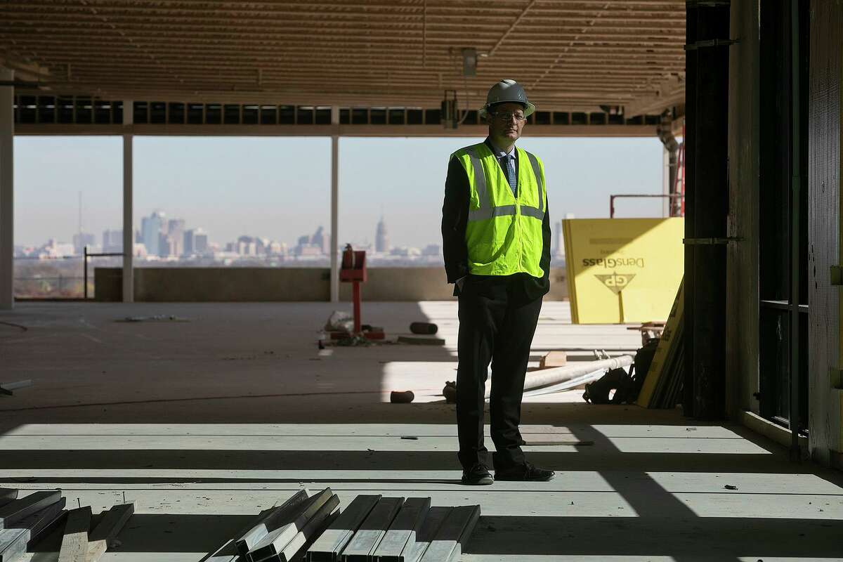 Jim Perschbach, President and CEO of Port San Antonio, stands on the top floor of Project Tech Building 2, still under construction, on Monday, Dec. 23, 2020.