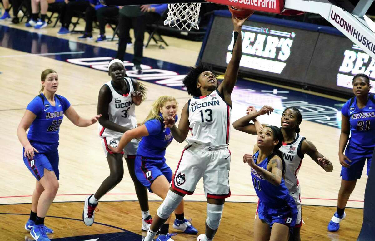 UConn's Christyn Williams (13) shoots against DePaul during the second half Tuesday in Storrs.