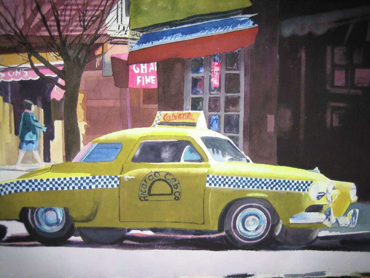 """Artwork by Mary Jane Magoon of Sherman, whose """"Ricardo Taxi"""" is shown above, will be showcased at Burnham Library in Bridgewater Jan. 5 through Feb. 27."""