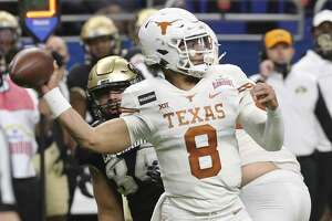 Texas quarterback Casey Thompson saw four of his eight completions go for touchdowns in Tuesday's Alamo Bowl victory over Colorado.