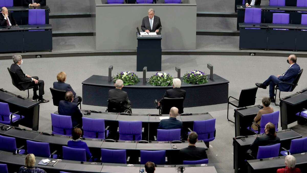 """On March 23, U.N. Secretary General António Guterres - pictured in an address to Germany's parliament last week - appealed to warring parties """"to lay down their weapons."""""""