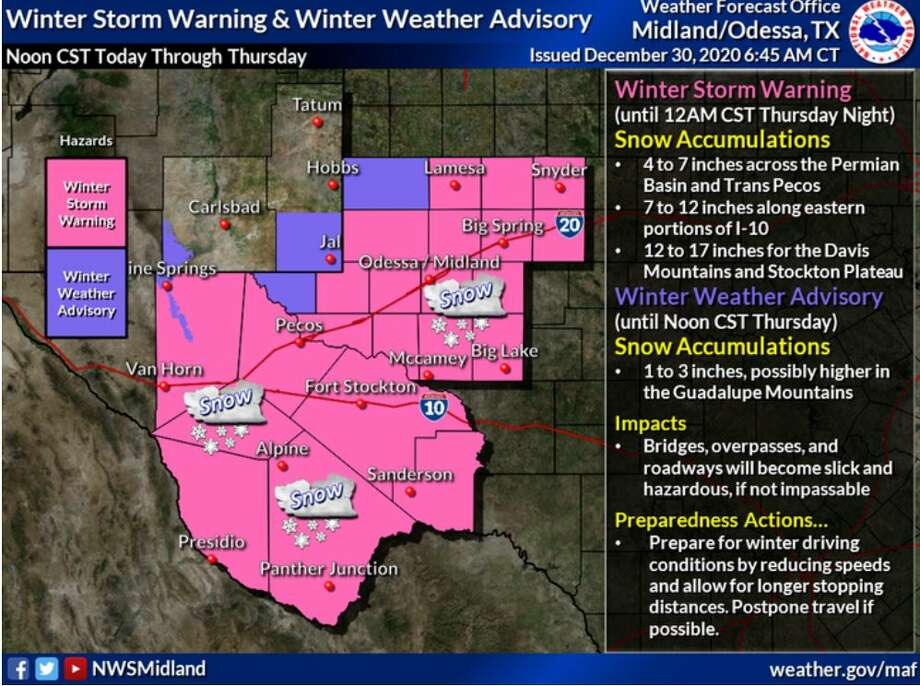 Winter Storm Warning and Advisory is out for most of the area today through Thursday. Snowfall amounts ranging from 4 to 7 inches for the Permian Basin, 7 to 12 for the eastern portion of I-10, and 12 to 17 for the Davis Mountains and Stockton Plateau. Photo: Midland National Weather Service