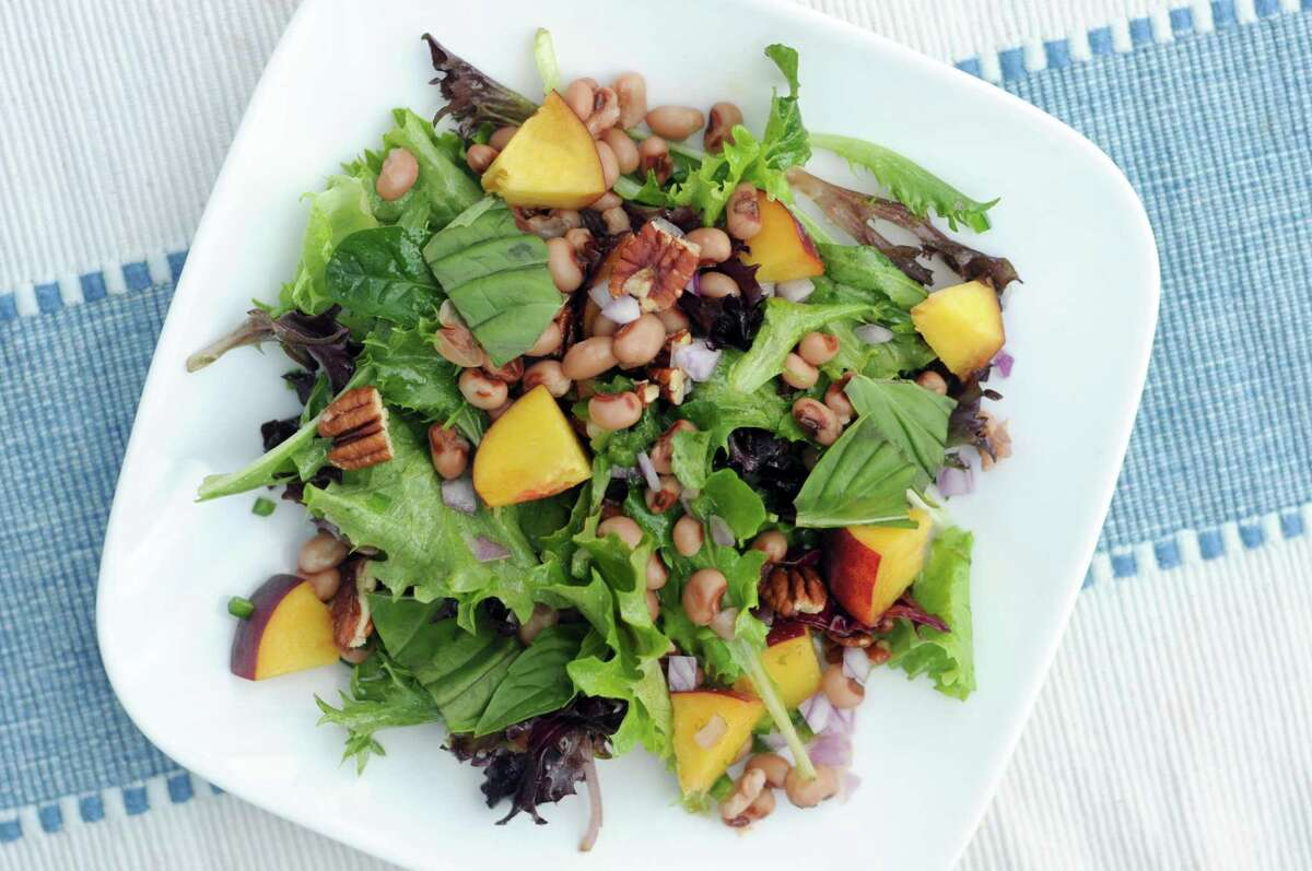 """Black-Eyed Pea Salad with Peaches and Pecans from """"The Complete Plant Based Cookbook"""" by America's Test Kitchen (America's Test Kitchen, $34.99)"""
