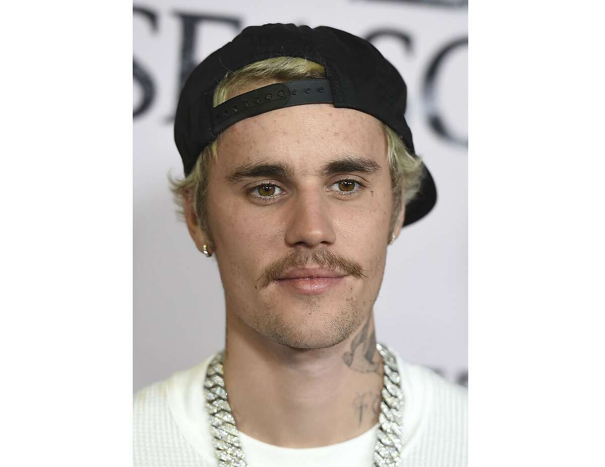 FILE - In this Jan. 27, 2020 file photo, Justin Bieber arrives at the Los Angeles premiere of