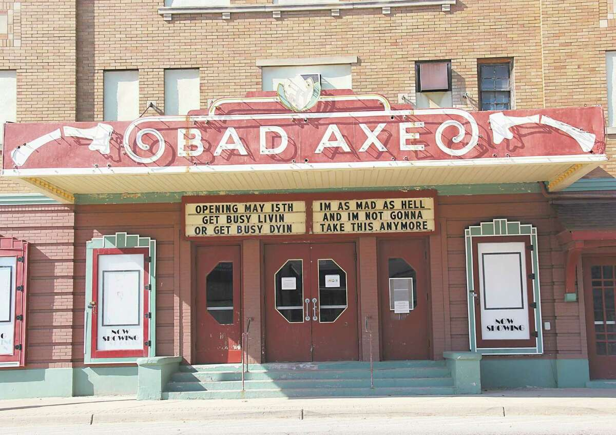 The Bad Axe movie theater marquee is banking on Gov. Gretchen Whitmer's stay-at-home order coming to a close May 15, as it is promoting the theater will be opening that day. It quotes the classic movies