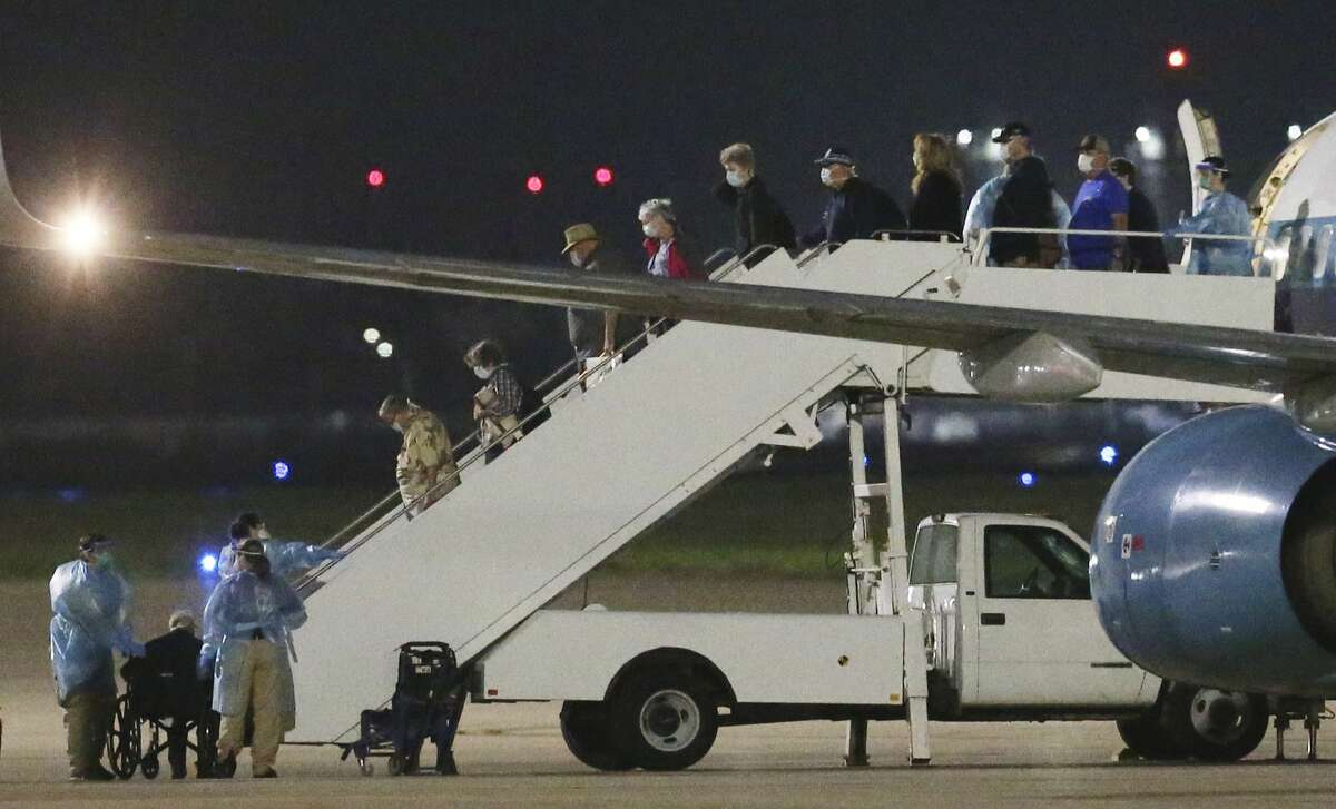A second charter flight from Oakland carrying passengers evacuated from the Grand Princess cruise ship arrives at Joint Base San Antonio-Lackland at about 4:48 a.m. on Thursday, March 12, 2020. This arrival marked the second round of evacuees from the cruise ship that will be housed at Lackland during a federally mandated 14-day quarantine due to possible exposure of the coronavirus while on board the ship. Since February, Lackland has housed about 400 evacuees that were potentially exposed to the virus.