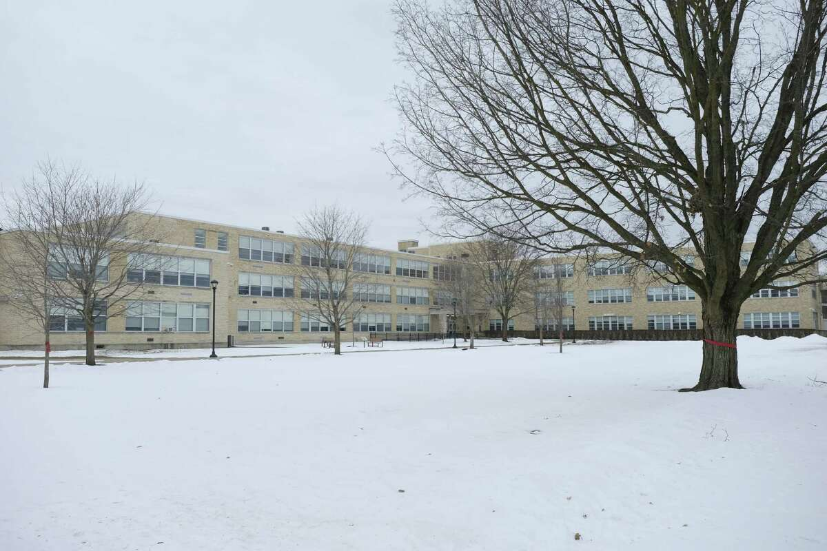 A view of Glens Falls High School on Wednesday, Dec. 30, 2020, in Glens Falls, N.Y. An underage drinking party in Wilton is now linked to 10 coronavirus cases. This has forced the school district to go all-remote for the first two weeks of January. (Paul Buckowski/Times Union)