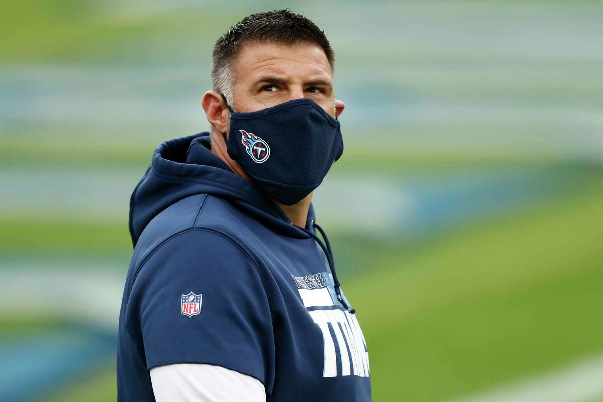 Tennessee Titans head coach Mike Vrabel watches during warm ups before an NFL football game against the Detroit Lions Sunday, Dec. 20, 2020, in Nashville, N.C. (AP Photo/Wade Payne)