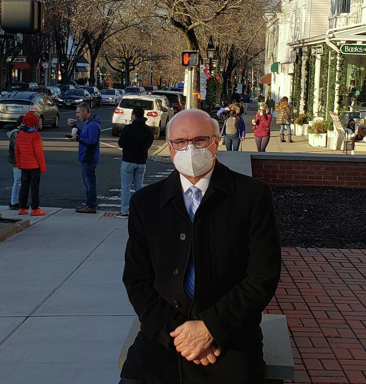 First Selectman Rudy Marconi is an advocate of mask wearing. Mosst Ridgefielders do it, he says.
