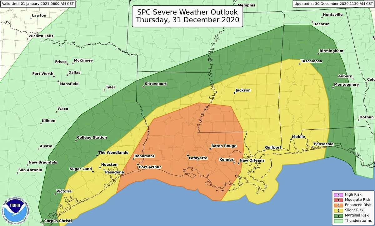 There is an enhanced risk of severe weather from far SE TX across LA and into SW MS. All severe weather hazards are expected including the potential for tornadoes.