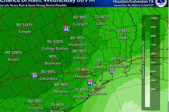 Harris County will be under a flash flood watch from 6 p.m. Wednesday through New Year's Eve thanks to a slow-moving cold front that will eventually help Houston ring in 2021 with cooler, sunny weather, according to the National Weather Service.