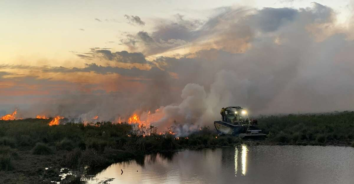 A Marsh Master is used to combat a fire at Anahuac National Wildlife Refuge in mid-December.