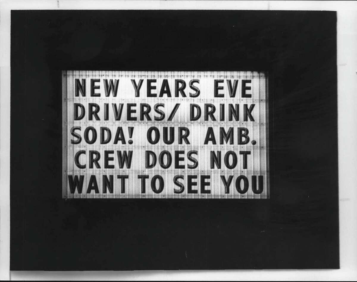 Sign in front of Colonie Village Fire Department; New Year's Eve. Dec. 30, 1984 (Fred McKinney/Times Union Archive)
