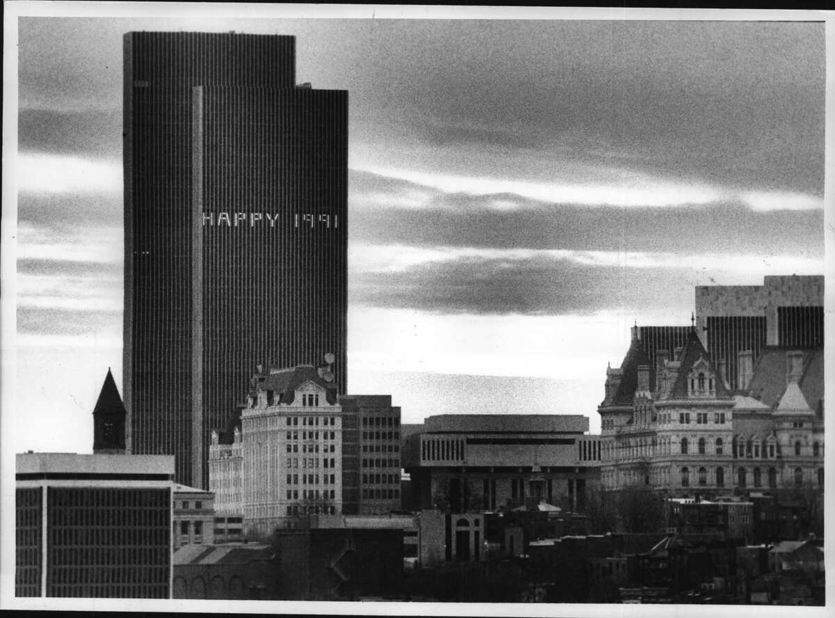Albany, New York - South Mall - Corning Tower's new year message with part of Albany skyline late Tuesday afternoon. January 1, 1991 (John Carl D'Annibale/Times Union Archive)