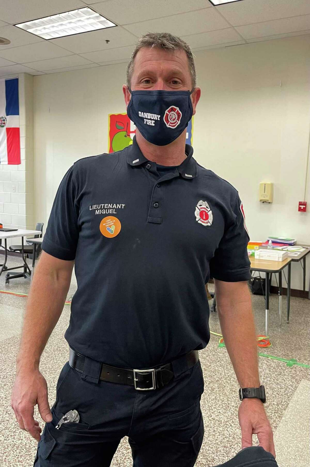 Danbury fire Lt. Mark Miguel received the Moderna COVID vaccine on Wednesday, Dec 30, 2020. The Danbury Health Department administered 300 COVID vaccines over the course of a week to health care workers and first responders.