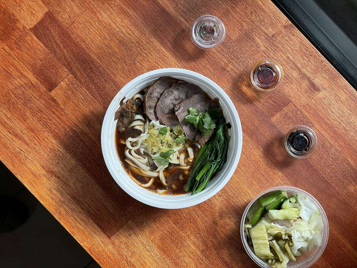 Niu rou mian, Taiwanese beef noodle soup, from Bay Area pop-up Yilan Foods.