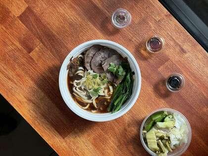 Niu rou mian, Taiwanese beef noodle soup, from Bay Area pop-up Yilan Foods.